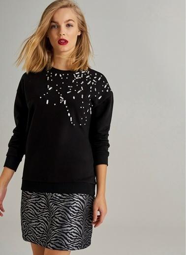 Monamoda Taş işlemeli Sweatshirt Siyah